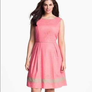 Jessica Simpson Pink Fit Flare Lace Skater Dress